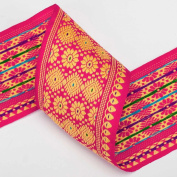Neotrims Traditional Sari Salwar Kameez Ribbon Trimmings by The Yard 75mm Wide. Beautiful 7.5cm wide ribbon; Beautiful Assam Province Sari Border designs, Traditional Floral Jacquard sari Indian ribbon border; Great For Crafts and Hobbies; 2 Beautiful ..