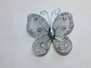 12 Pcs 5.1cm Silver Organza Butterflies Craft Wedding Party Decoration