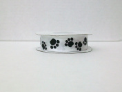 Dog Paw Print Satin Ribbon 2.2cm 25 Yards -- white background/ black Paw print