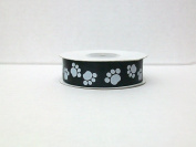 Dog Paw Print Satin Ribbon 2.2cm 25 Yards -- Black Background/ White Paw Print