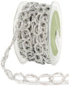 May Arts 1.6cm Wide Ribbon, Silver Chain Cord