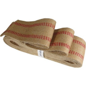 10 Yards Heavy Duty Red and Natural Burlap Upholstery Webbing
