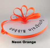 1cm Neon Orange Grosgrain Ribbon 50 Yards Solid Colour.