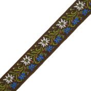 5 Yards 2.2cm Vintage Floral Jacquard Ribbon Trim, woven jacquard ribbon, Brown, SP-2048