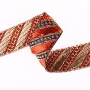 Neotrims Decorative Ribbon Chevron Jacquard Pattern; Indian Salwar Kameez Sari Trimming Ribbon, Luxurious Brocade Look for Apparel and Home Décor ; 4 Vibrant Colours; Cerise Pink, Turquoise Blue, Soft Brown & Violet Purple. Gorgeous