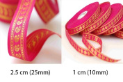 Stunning Paisley Trimming Ribbon in a combination sizes of 1cms and 2.5cms widths. Can be used single or combined both together as a set. It's a real traditional and versatile size for any use form sewing to d2cor! Available in 2 Colour 1) Cerise Pink; ..