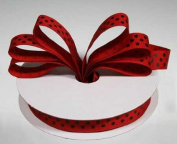 1.6cm Red Grosgrain Ribbon with Black Polka Dots - 25 Yards