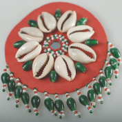 Neotrims Hand Crafted Indian Style Beaded & Shells Motifs Sew On Badges,Fringed Decoration. 7.5cms Diameter, Unique Indian Style Applique. Great Price & Limited Edition.