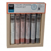 R & F Handmade Paints Pigment Sticks, Figure Drawing Colours, Set Of 6