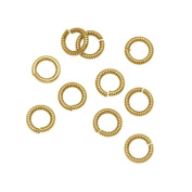 Nunn Design Antiqued Gold Plated Open Jump Rings Etched 6.5mm 17 Gauge