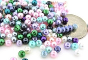 200pcs Mix Lustre Glass Pearls Round 4mm - Spring Mix