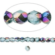 4mm Teal w/ Blue Iris Preciosa Czech Fire-Polished Glass Faceted Round Beads - Pack of 100