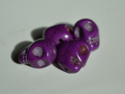 5 Purple Howlite Skull Beads (Loose) - Day of the Dead