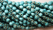 5 Turquoise Howlite Skull Beads (Loose) - Day of the Dead (Dia De Los Muertos) - Goth