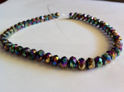 Chinese Crystal Glass Beads Faceted Rondelle, 8mm Purple Quartz AB, sold per 12-inch strand.