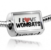 Bead I Love Wombats - Charm Fit All European Bracelets , Neonblond