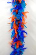 80 Gramme Chandelle Feather Boa 2 Yards - ORANGE/ROYAL BLUE/TURQUOISE Mix