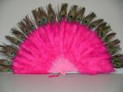Marabou Feather Fan w/ Peacock - HOT PINK 60cm x 36cm