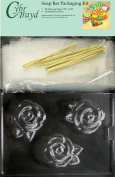 Large Rose Soap Mould with Packaging Kit, 50 Cello Bags, 50 Ties