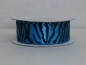 Turquoise Zebra Print Satin Ribbon 2.2cm Wide