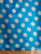 BIG POLKA DOT PRINT SATIN FABRIC - Blue - 150cm SOLD BTY SILKY