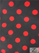 BIG POLKA DOT POLY COTTON PRINT FABRIC - Black/Red Dots - SOLD BTY POLYCOTTON