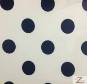 BIG POLKA DOT POLY COTTON PRINT FABRIC - White/Navy Dots - SOLD BTY POLYCOTTON