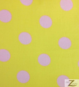 BIG POLKA DOT POLY COTTON PRINT FABRIC - Yellow/Pink Dots - SOLD BTY POLYCOTTON