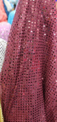 SMALL DOT CONFETTI SEQUIN FABRIC 110cm WIDE SOLD BY THE YARD DARK BURGUNDY