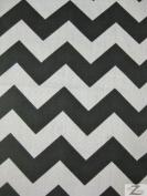 ZIG ZAG POLY COTTON PRINT FABRIC - White/Black- CHEVRON POLYCOTTON 150cm 2.5cm STRIPE