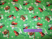 110cm Wide Disney CARS Fuel Tide Green Cotton Fabric BY THE HALF YARD