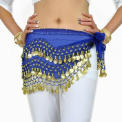 AQY 158 Gold Coins Sapphire blue Chiffon Belly Dancing Skirt