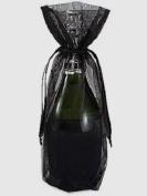 10x Black Bottle & Wine Organza Favour Gift Bags 17cm x 38cm