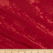 Jacquard Satin Roses Red Fabric By The YD