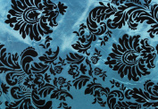DAMASK FLOCKED TAFFETA FABRIC 150cm /150cm WIDE BY THE YARD TURQUOISE/BLACK