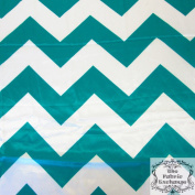 Teal Chevron Satin Charmeuse 150cm Wide Fabric By The Yard