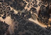 DAMASK FLOCKED TAFFETA FABRIC 150cm /150cm WIDE BY THE YARD BROWN/BLACK