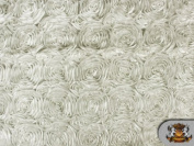 Rosette Satin IVORY Fabric By the Yard