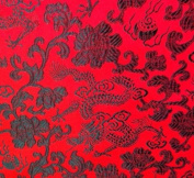 Black/red Dragon Floral Brocade Fabric 110cm Wide By the Yard