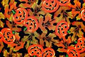 Joann's Pumpkins/autumn Leaves Fabric,cotton,black,pumpkins,leaves