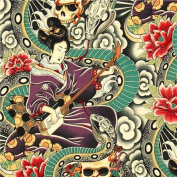 colourful Alexander Henry fabric Japanese woman and skulls