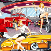 Pin up women at the drive-in fabric by Alexander Henry