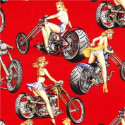 Red Pin up women on motorbikes fabric by Alexander Henry