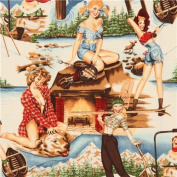 Pin up women in the mountains fabric by Alexander Henry