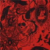 dark red raven spider skull fabric by Alexander Henry USA