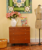 Kangaroo Kabinets K7805 Joey, Three Drawer Sewing Storage Sidekick, Teak