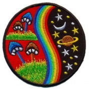 Mushroom Hippie Weed Boho Retro Pot Lsd Love Peace Applique Iron-on Patch