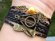 Unique Handmade Harry Potter Bracelet Bracelet Golden Snitch Bracelet Deathly Hallows Bracelet Owls Bracelet Black Leather Braid and Rope Bangle Gift to Harry Potter Fans