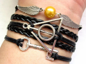 Harry Potter Bracelet, Silver Angel Wings with Golden Pearl Bracelet, Deathly Hallows and Key Bracelet, Black Bracelet, Friendship Bracelet