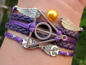 Handmade Vintage Harry Potter Bracelet Angel Wings and Deathly Hallow Bracelet Christmas Gift